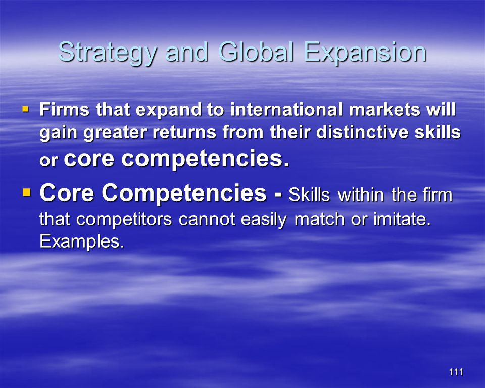 Strategy and Global Expansion
