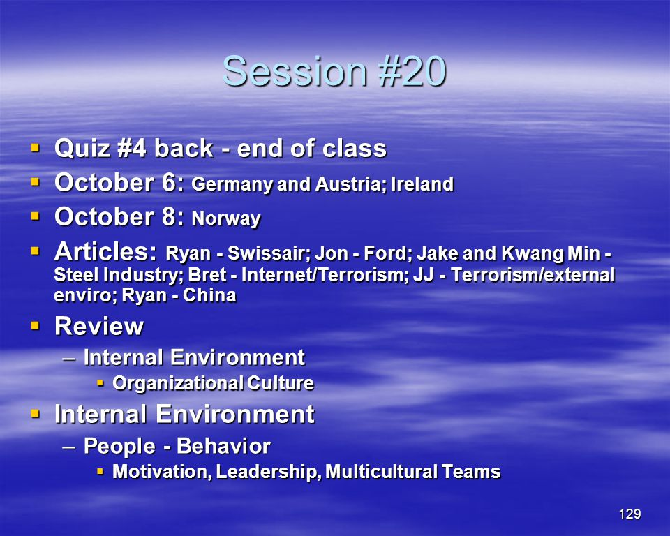 Session #20 Quiz #4 back - end of class