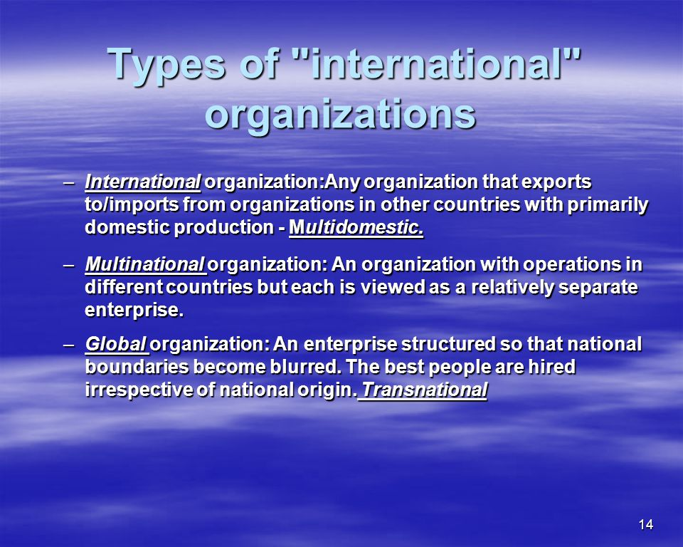 Types of international organizations