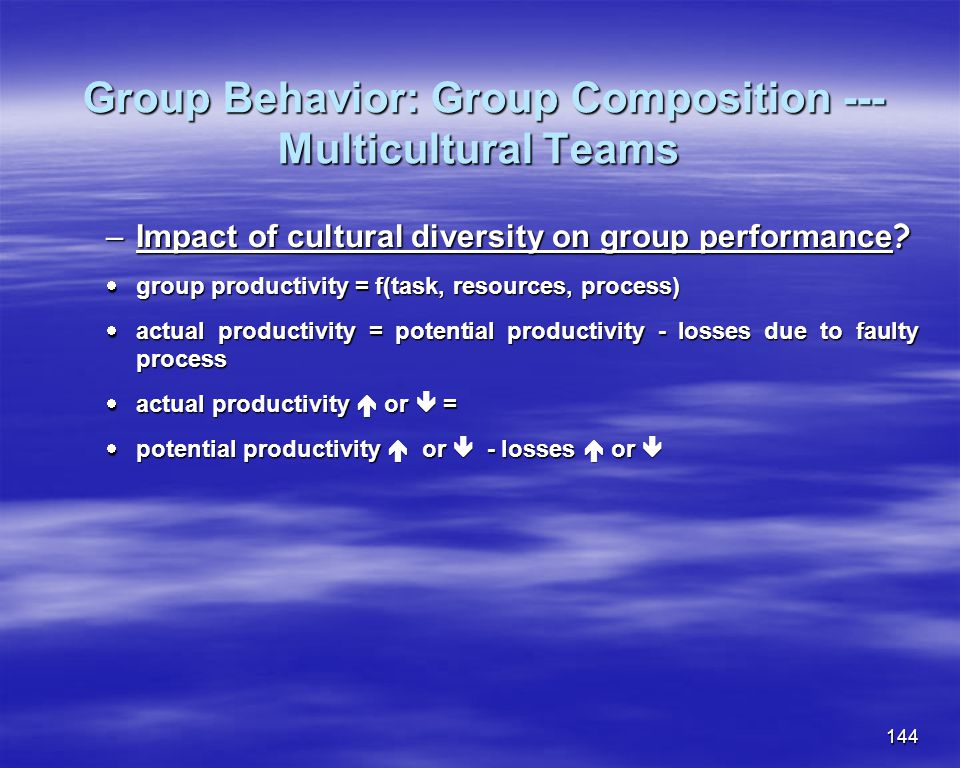 Group Behavior: Group Composition --- Multicultural Teams