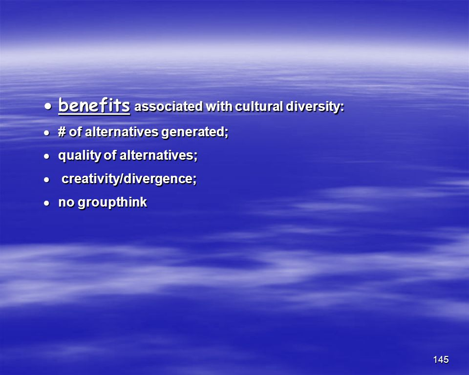benefits associated with cultural diversity: