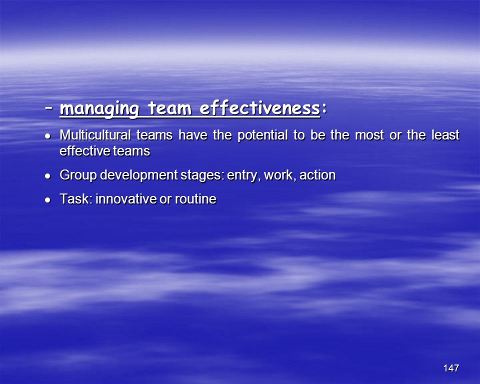 managing team effectiveness: