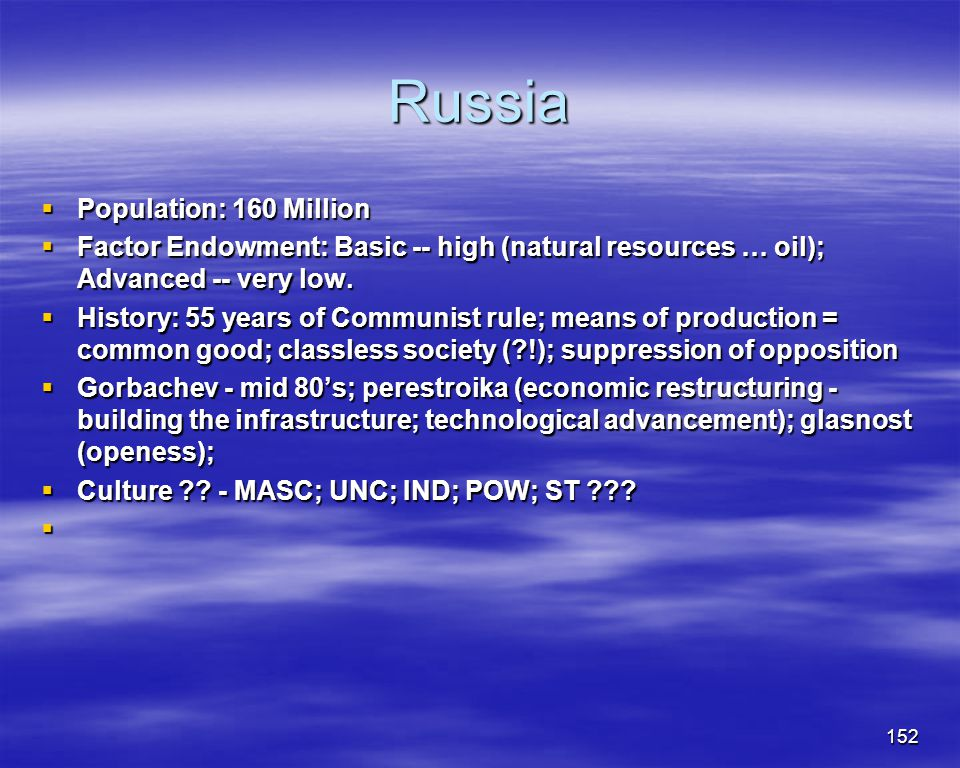 Russia Population: 160 Million