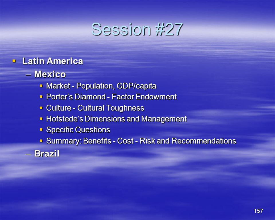 Session #27 Latin America Mexico Brazil