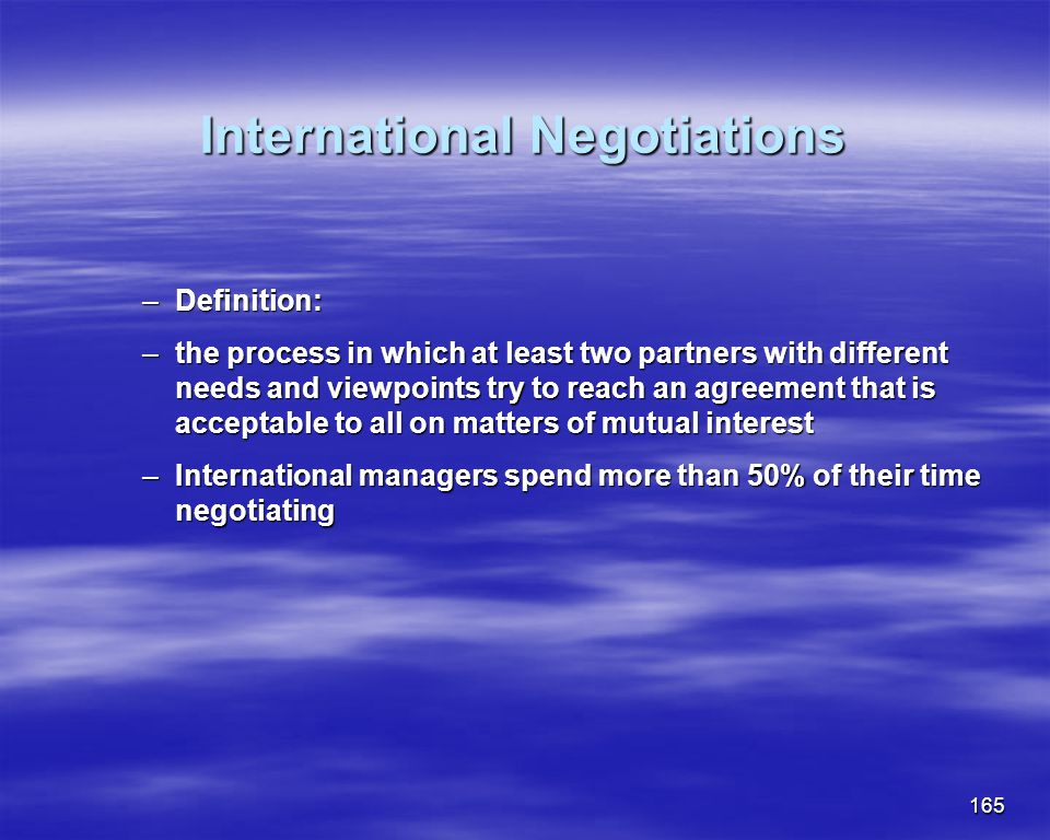 International Negotiations