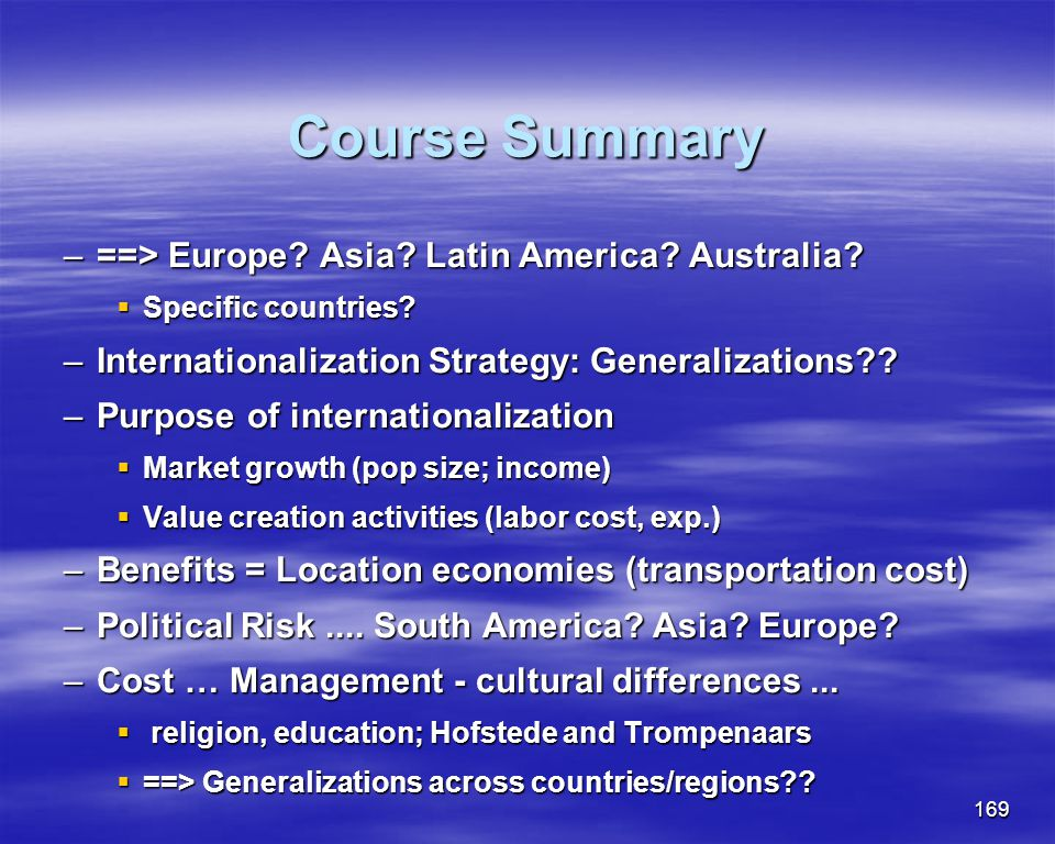 Course Summary ==> Europe Asia Latin America Australia