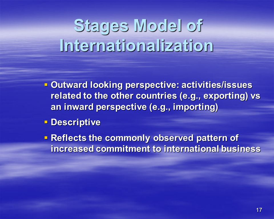Stages Model of Internationalization