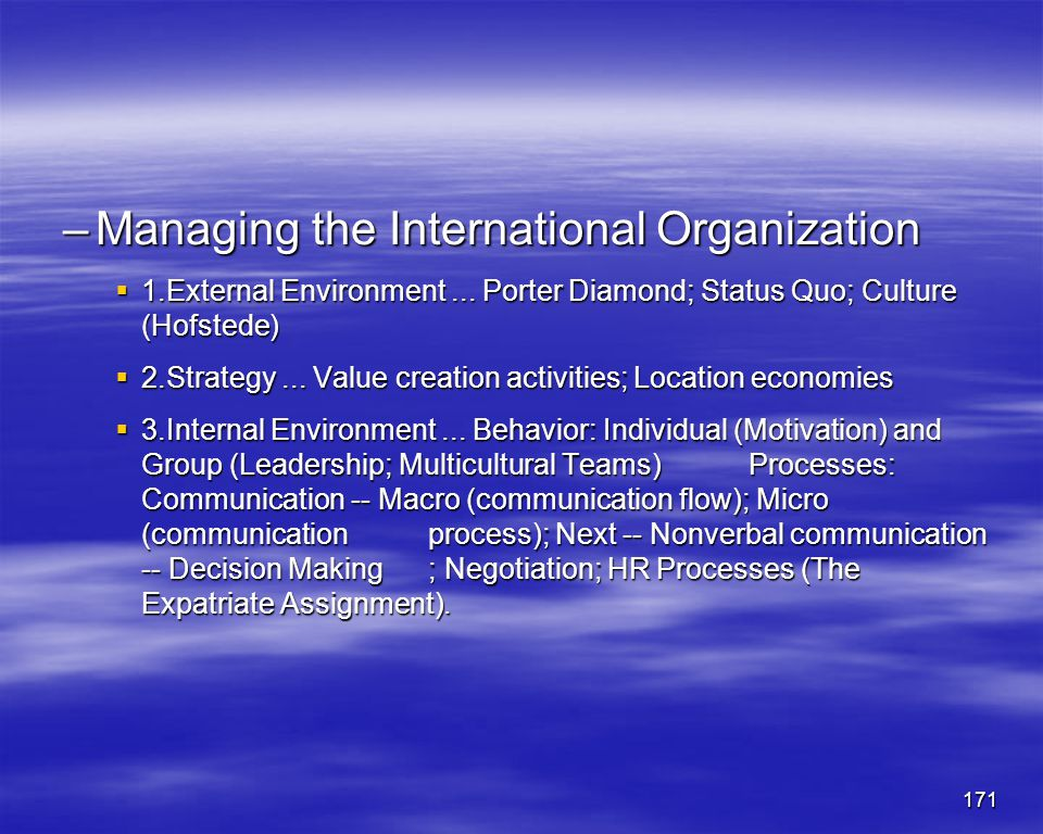 Managing the International Organization
