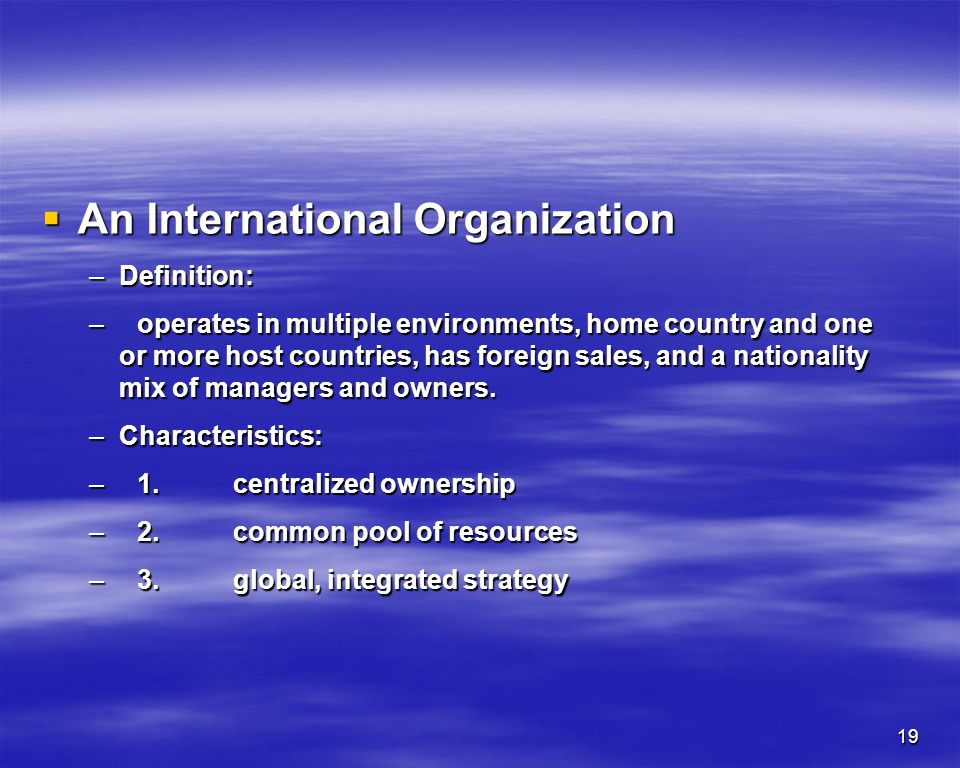 An International Organization