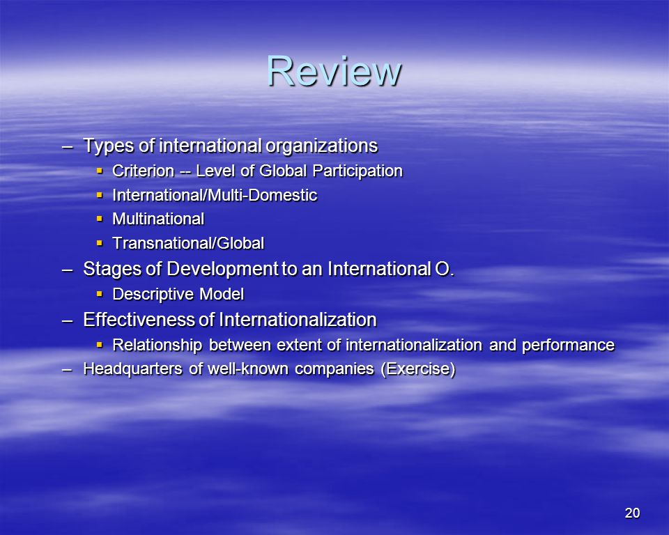 Review Types of international organizations