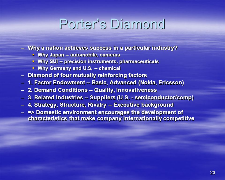 Porter's Diamond Why a nation achieves success in a particular industry Why Japan -- automobile, cameras.