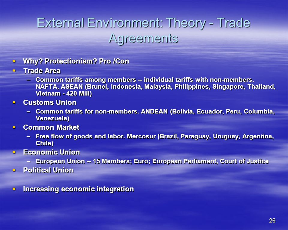 External Environment: Theory - Trade Agreements