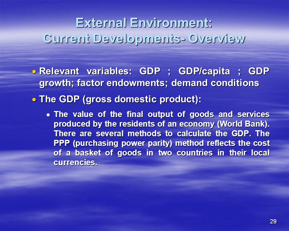 External Environment: Current Developments- Overview