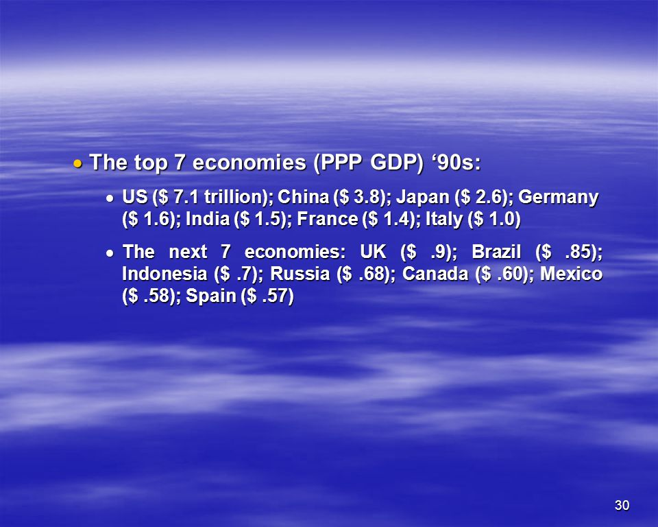 The top 7 economies (PPP GDP) '90s: