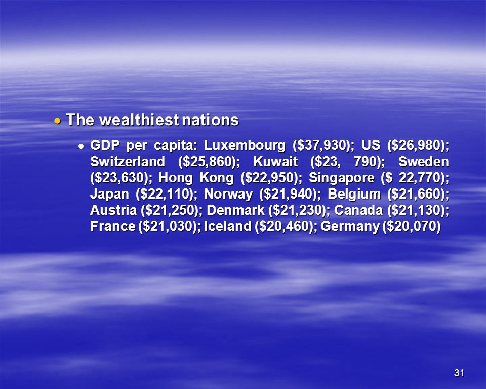 The wealthiest nations