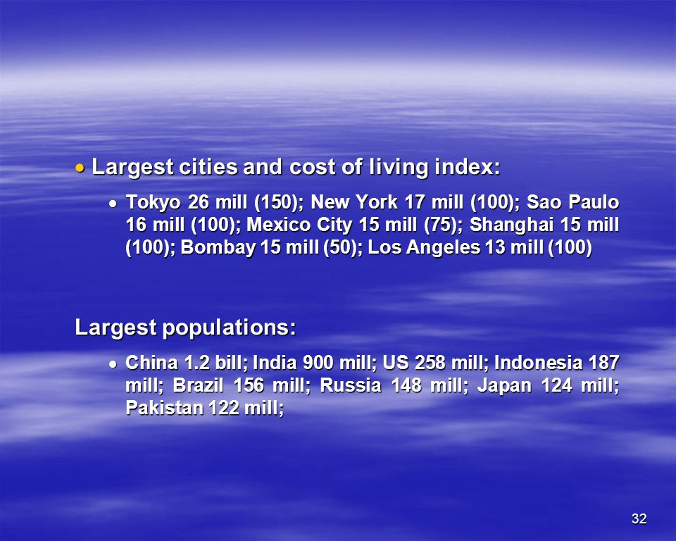 Largest cities and cost of living index: