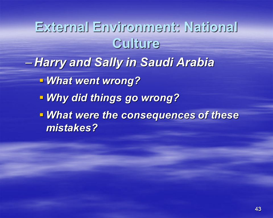 External Environment: National Culture