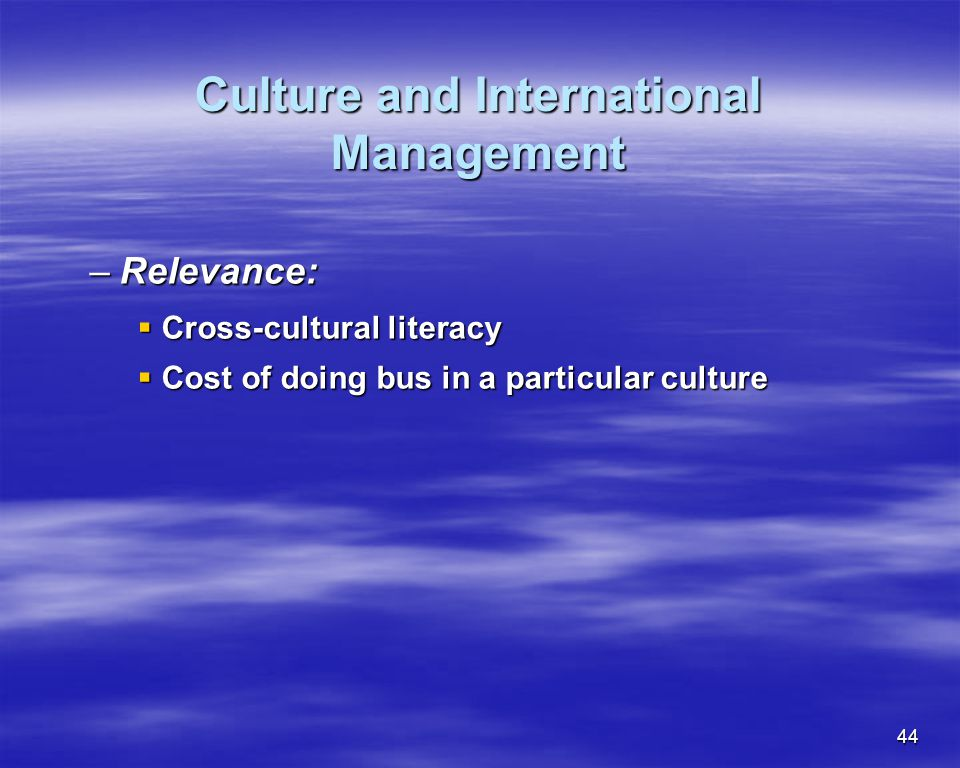 Culture and International Management