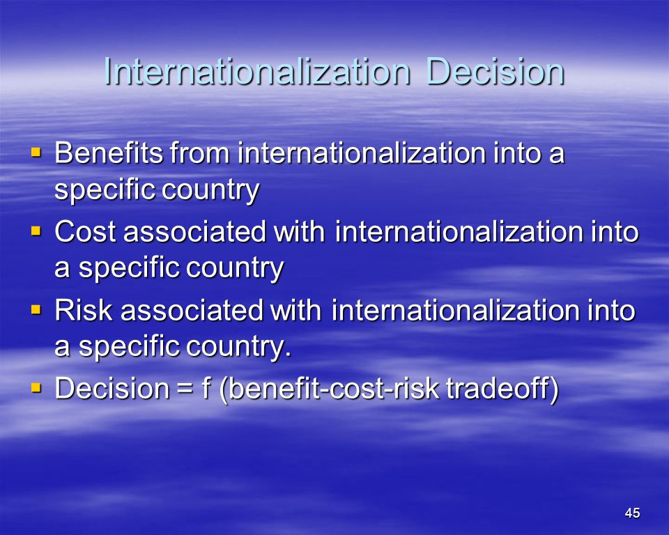 Internationalization Decision