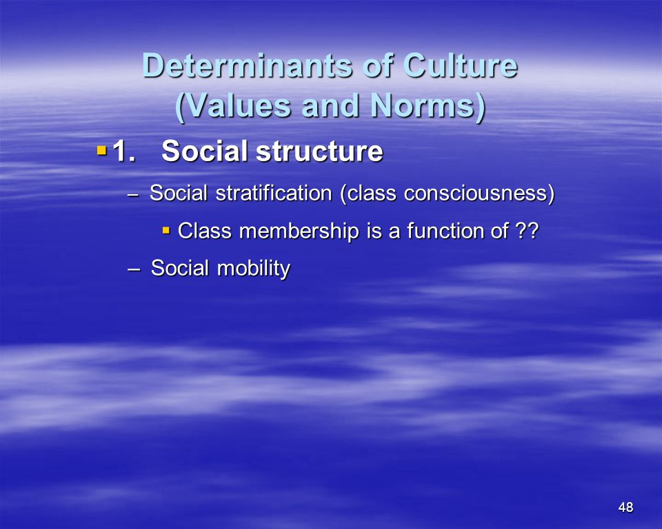 Determinants of Culture (Values and Norms)