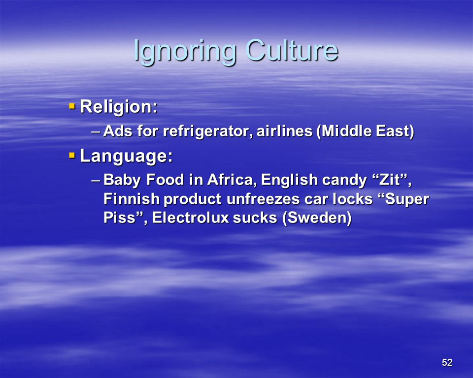 Ignoring Culture Religion: Language: