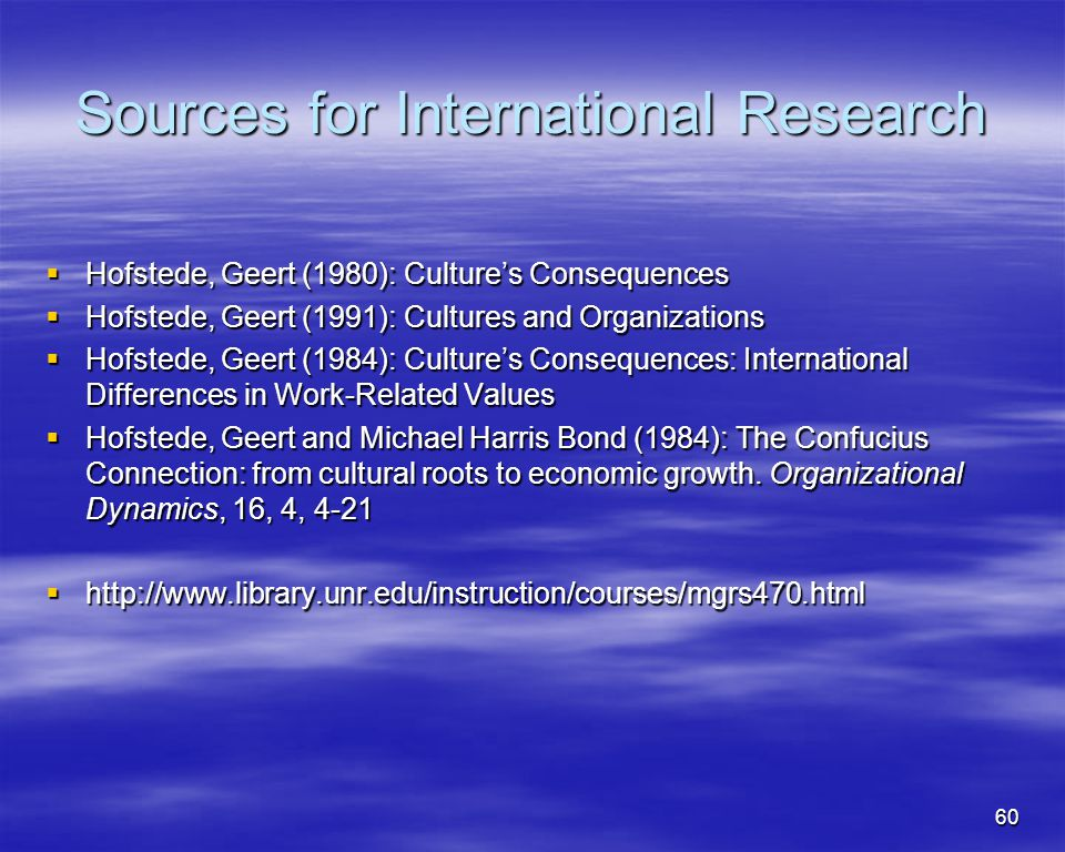 Sources for International Research