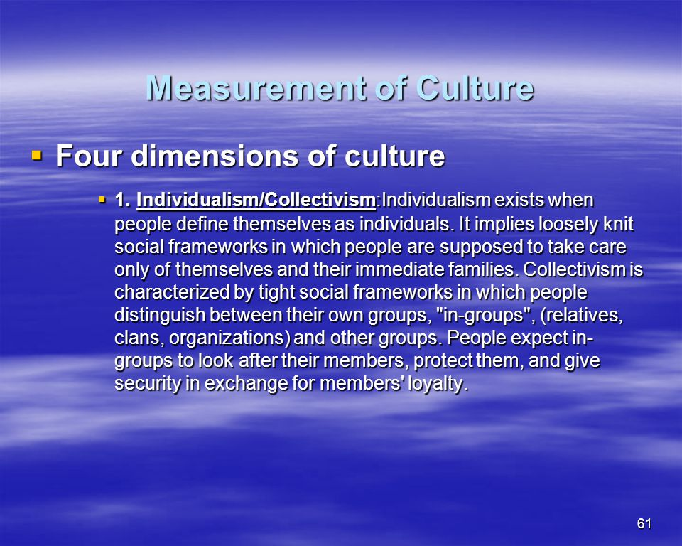 Measurement of Culture