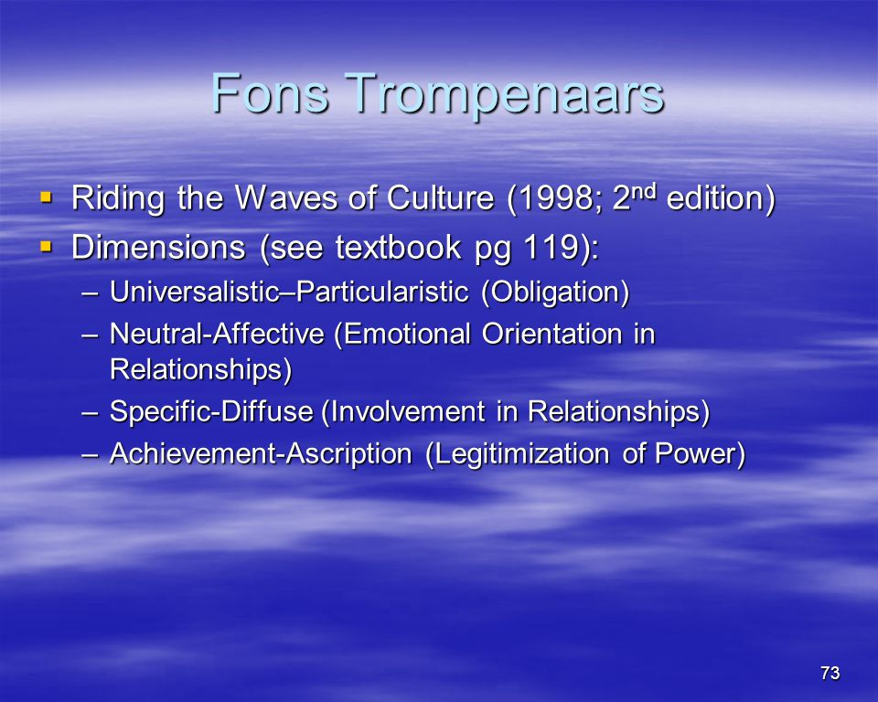 Fons Trompenaars Riding the Waves of Culture (1998; 2nd edition)
