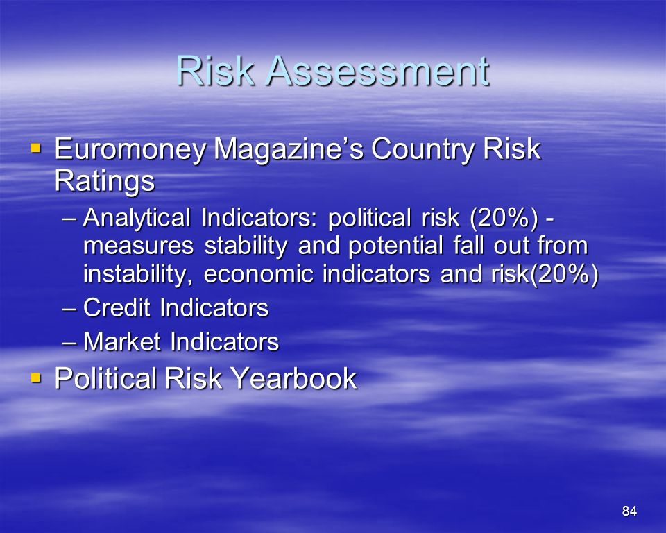 Risk Assessment Euromoney Magazine's Country Risk Ratings