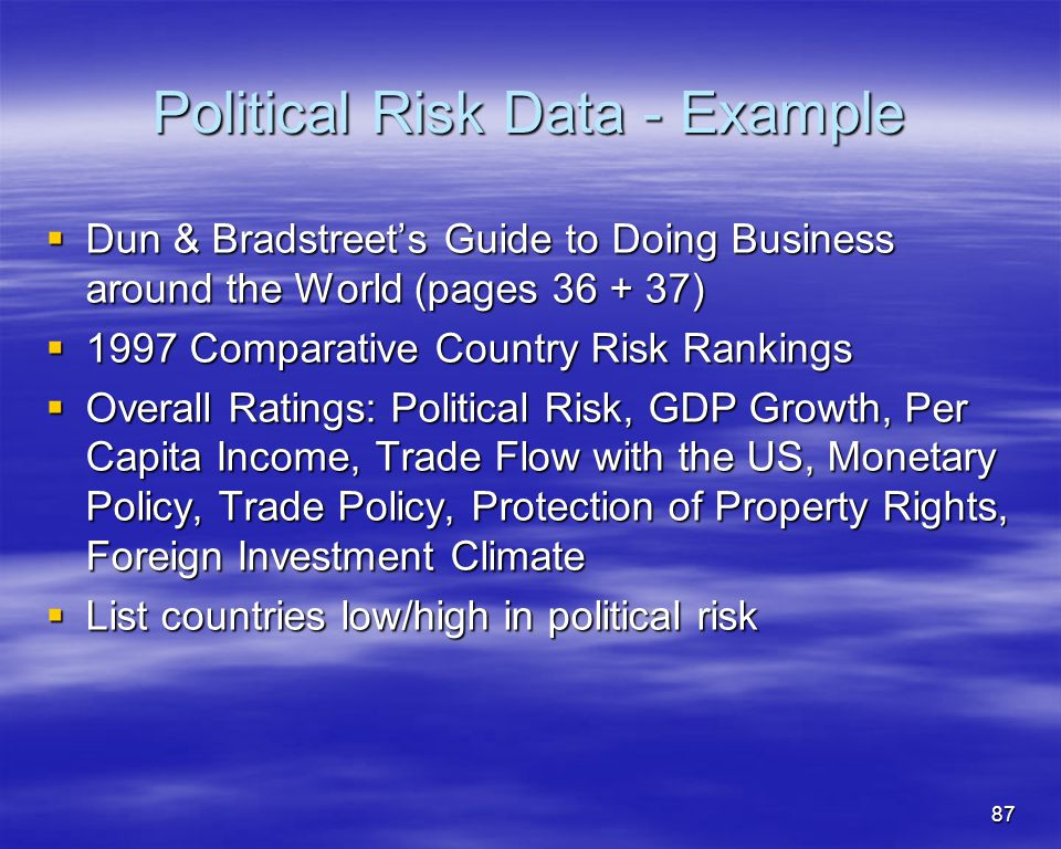 Political Risk Data - Example