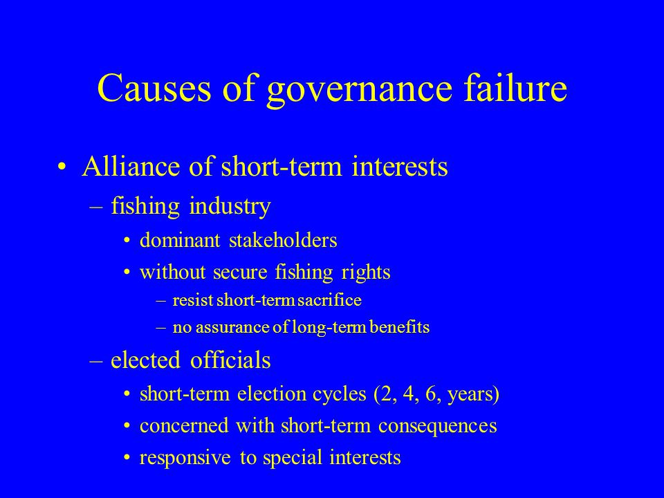 Causes of governance failure