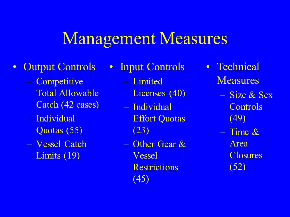 Management Measures Output Controls Input Controls Technical Measures