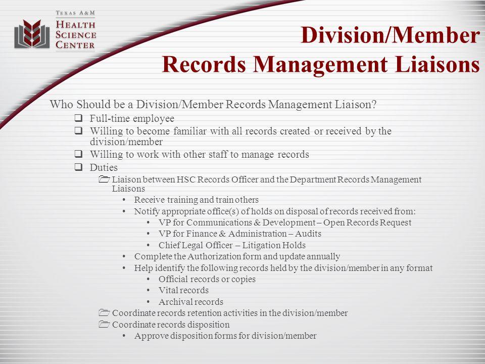 Division/Member Records Management Liaisons