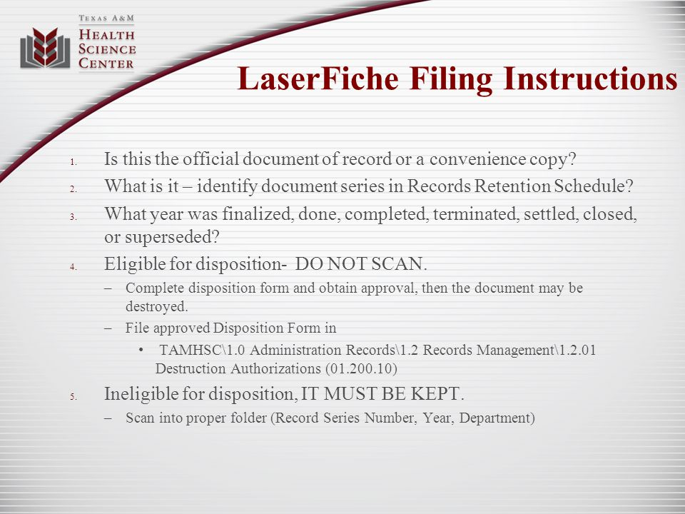 LaserFiche Filing Instructions