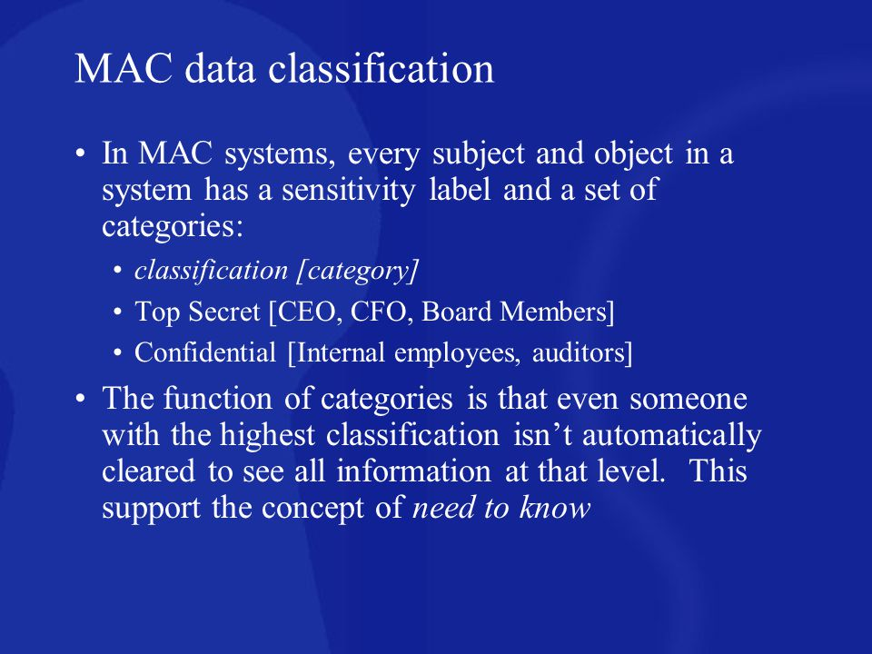 MAC data classification