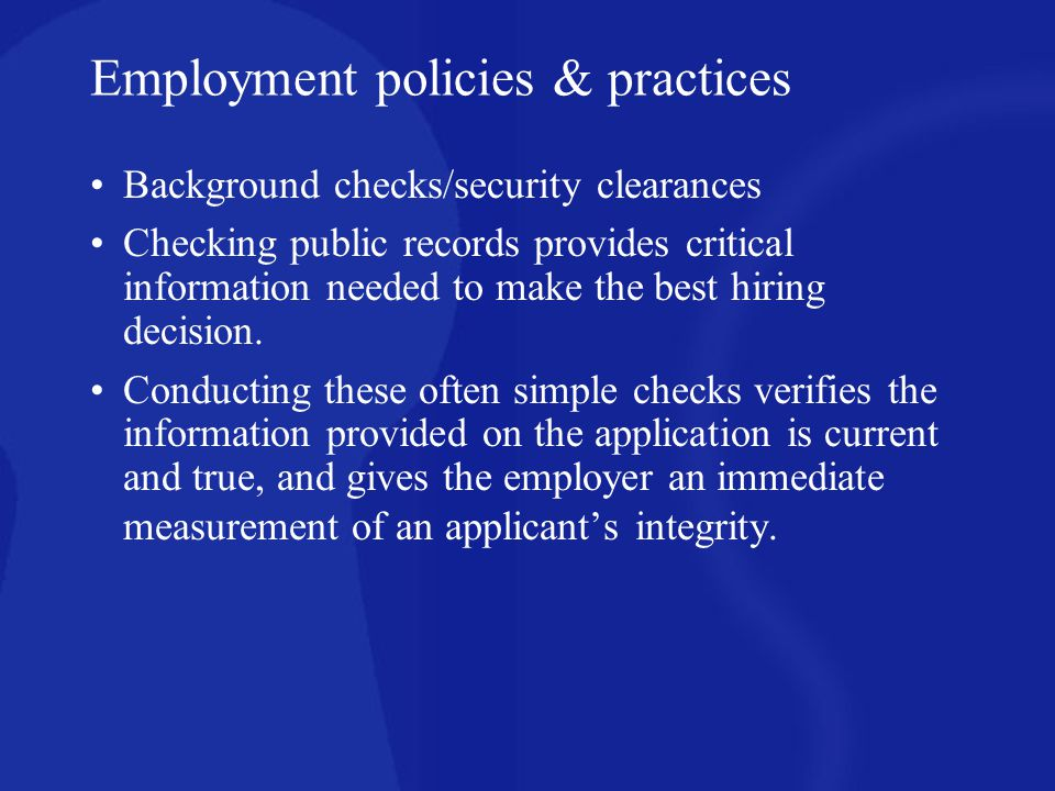 Employment policies & practices