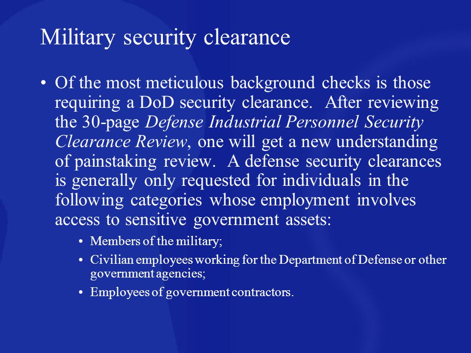 Military security clearance