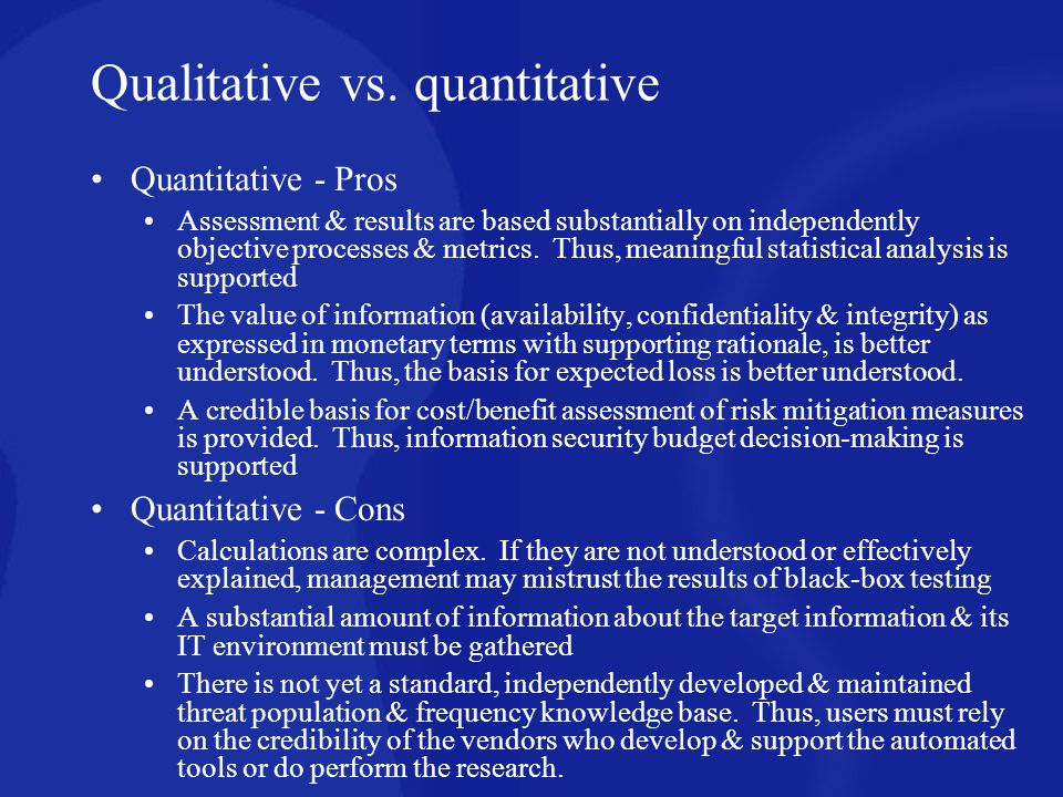 Qualitative vs. quantitative