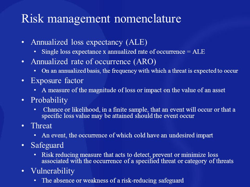 Risk management nomenclature