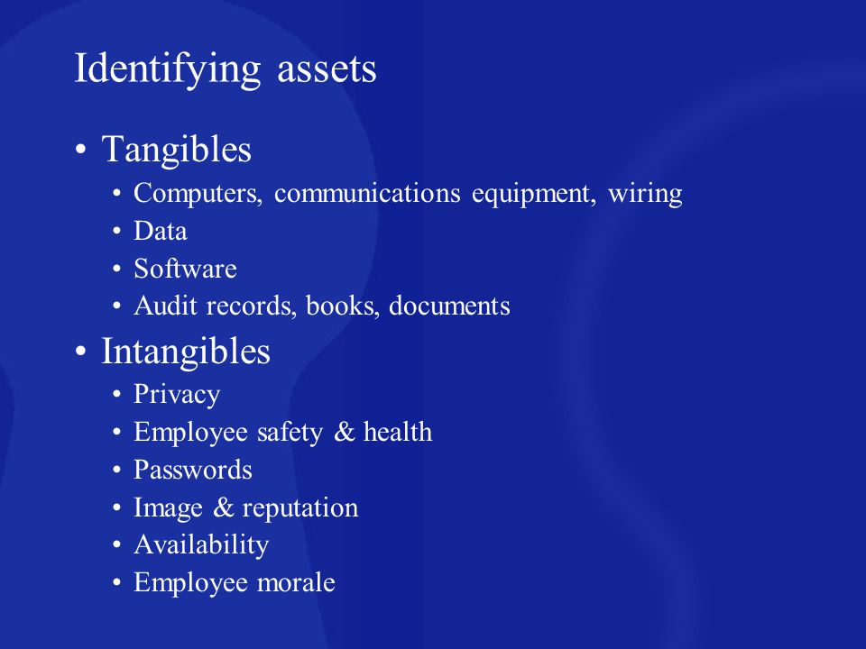 Identifying assets Tangibles Intangibles