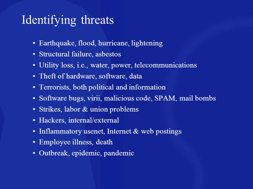 Identifying threats Earthquake, flood, hurricane, lightening