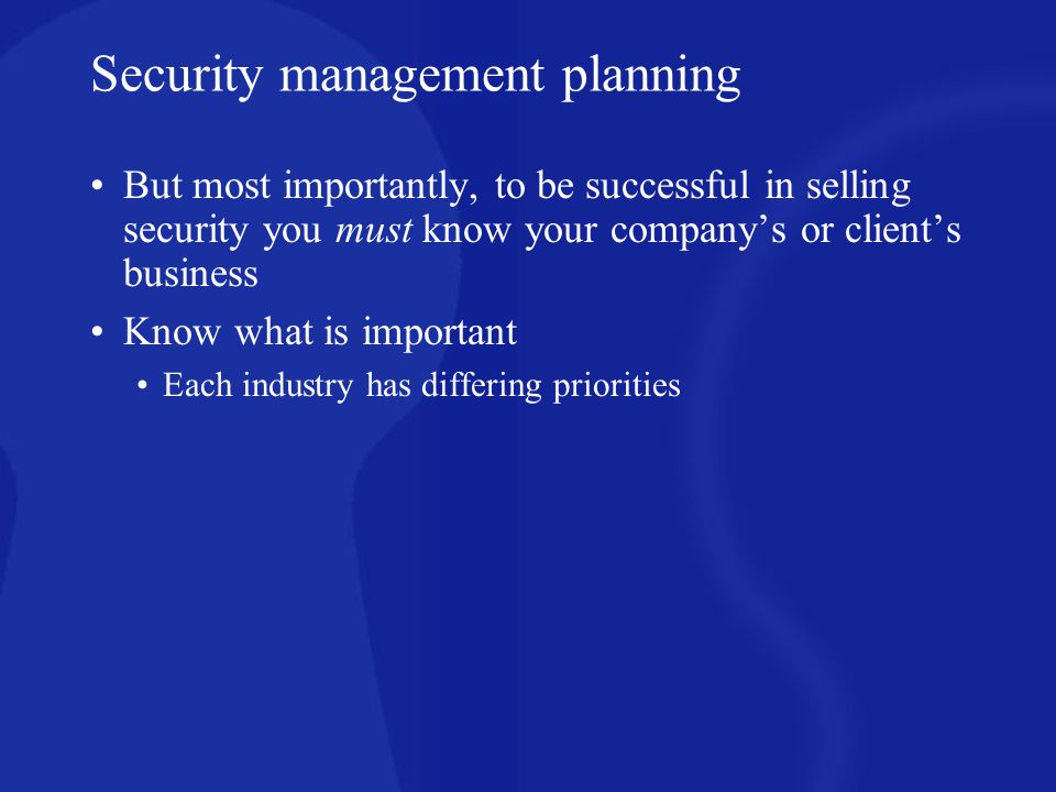 Security management planning