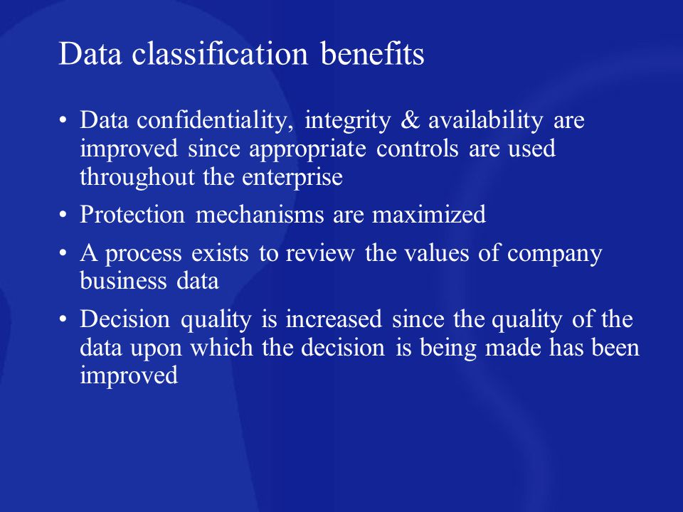 Data classification benefits