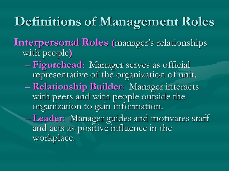 Definitions of Management Roles