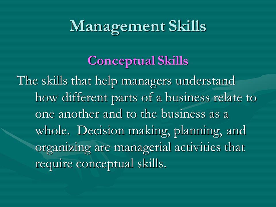 Management Skills Conceptual Skills