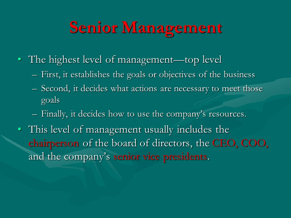 Senior Management The highest level of management—top level