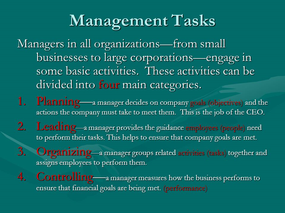 Management Tasks