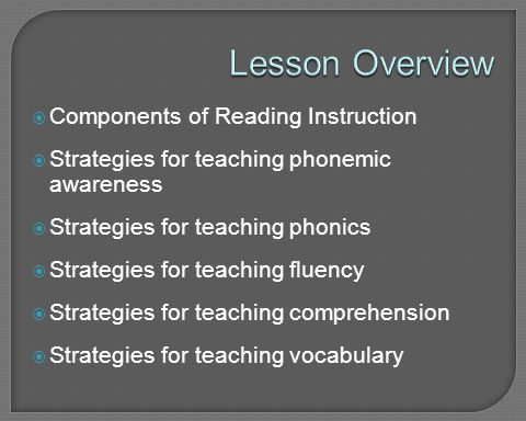 Lesson Overview Components of Reading Instruction