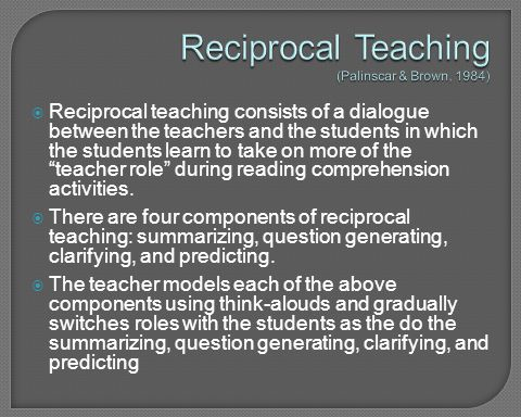 Reciprocal Teaching (Palinscar & Brown, 1984)