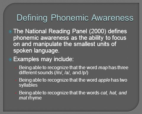 Defining Phonemic Awareness